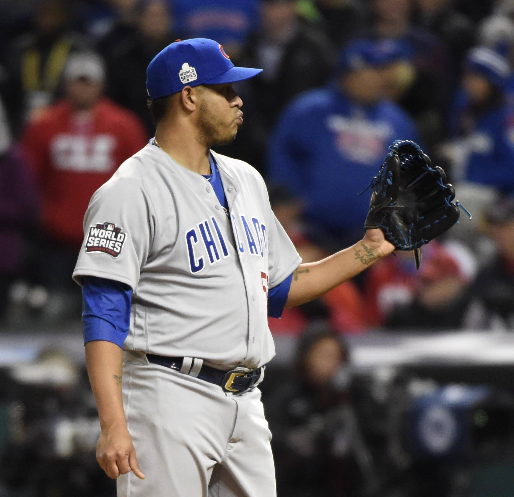 John Starks/jstarks@dailyherald.comChicago Cubs relief pitcher Hector Rondon reacts after giving up a three-run home run in the eighth inning Tuesday in Game 1 of the 2016 World Series in Cleveland.