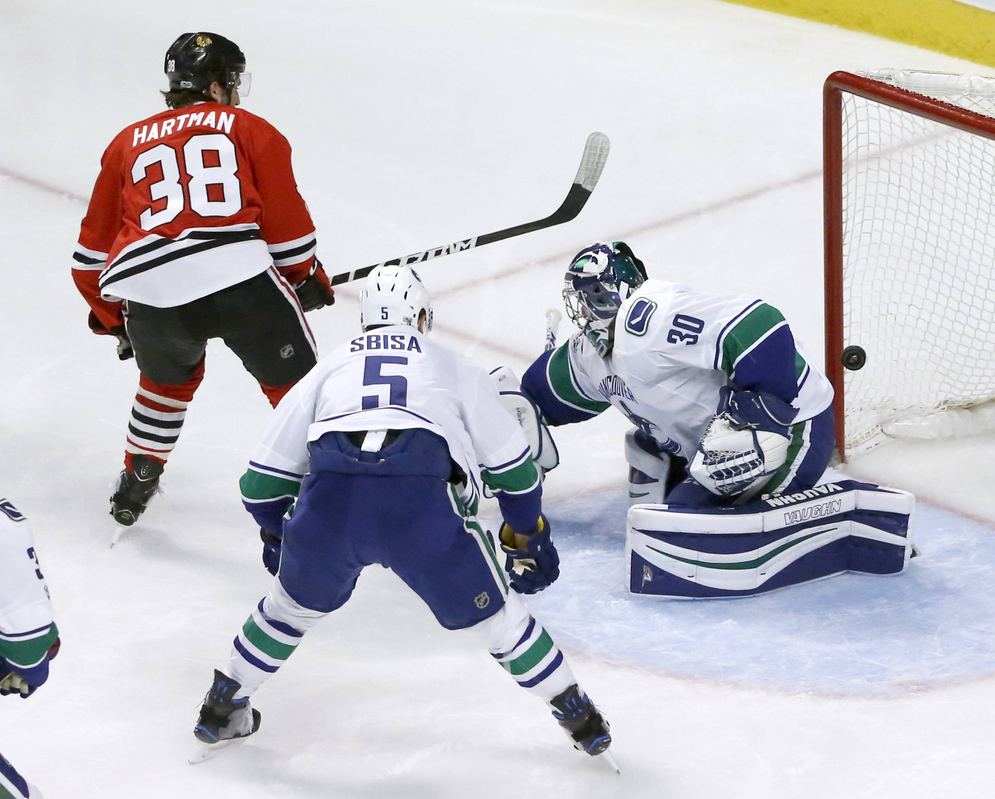 Chicago Blackhawks' Ryan Hartman (38) scores past Vancouver Canucks goalie Ryan Miller, as Luca Sbisa (5) watches during the second period of an NHL hockey game Tuesday, March 21, 2017, in Chicago. (AP Photo/Charles Rex Arbogast)