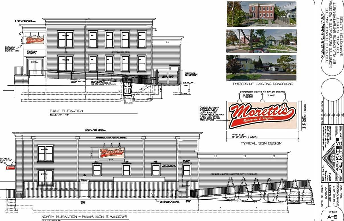 A rendering of Moretti's restaurant that will take over Wool Street Grill & Sports Bar in Barrington.