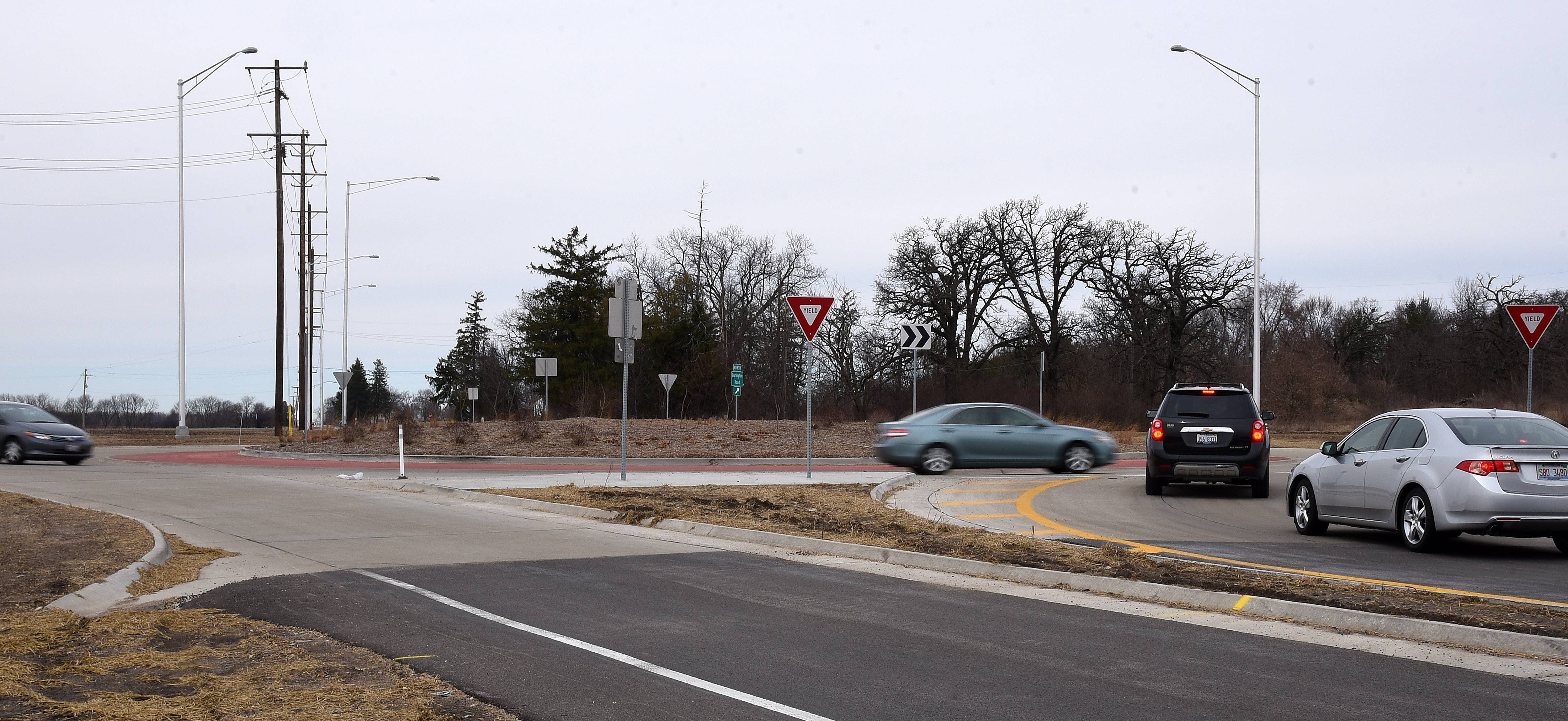 A county transportation project earmarked for the intersection of Bunker and Keslinger roads calls for a roundabout similar to this one at Route 47 and Burlington Road.