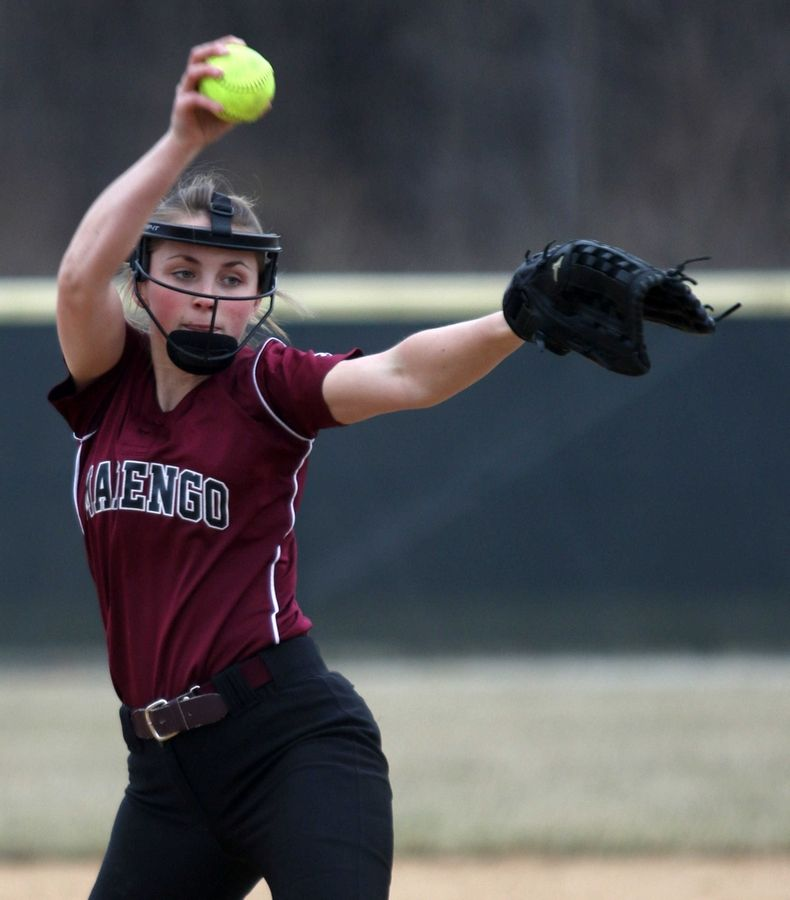 Marengo hurler Riley Connell makes an offering against Wauconda during varsity softball at Wauconda on Friday evening.
