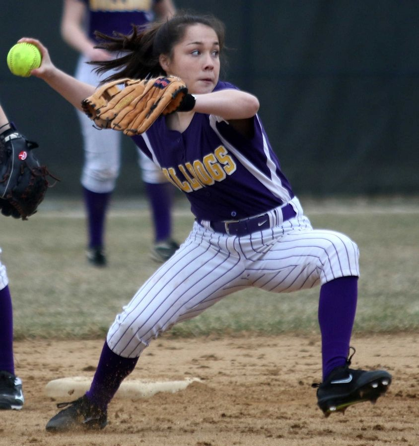 Wauconda's Maddie Ryan makes a toss to first to nab a Marengo runner at Wauconda on Friday evening.