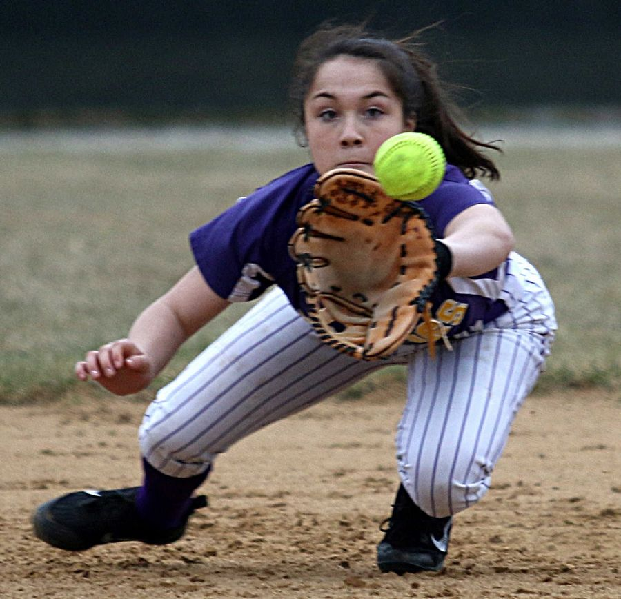 Wauconda's Maddie Ryan snags a line drive for an out against Marengo at Wauconda on Friday evening.