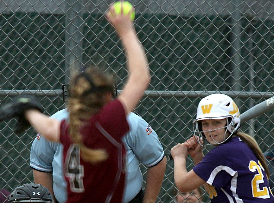 Wauconda's Mallory Carver awaits the offering from Marengo's Riley Connell at Wauconda on Friday evening.