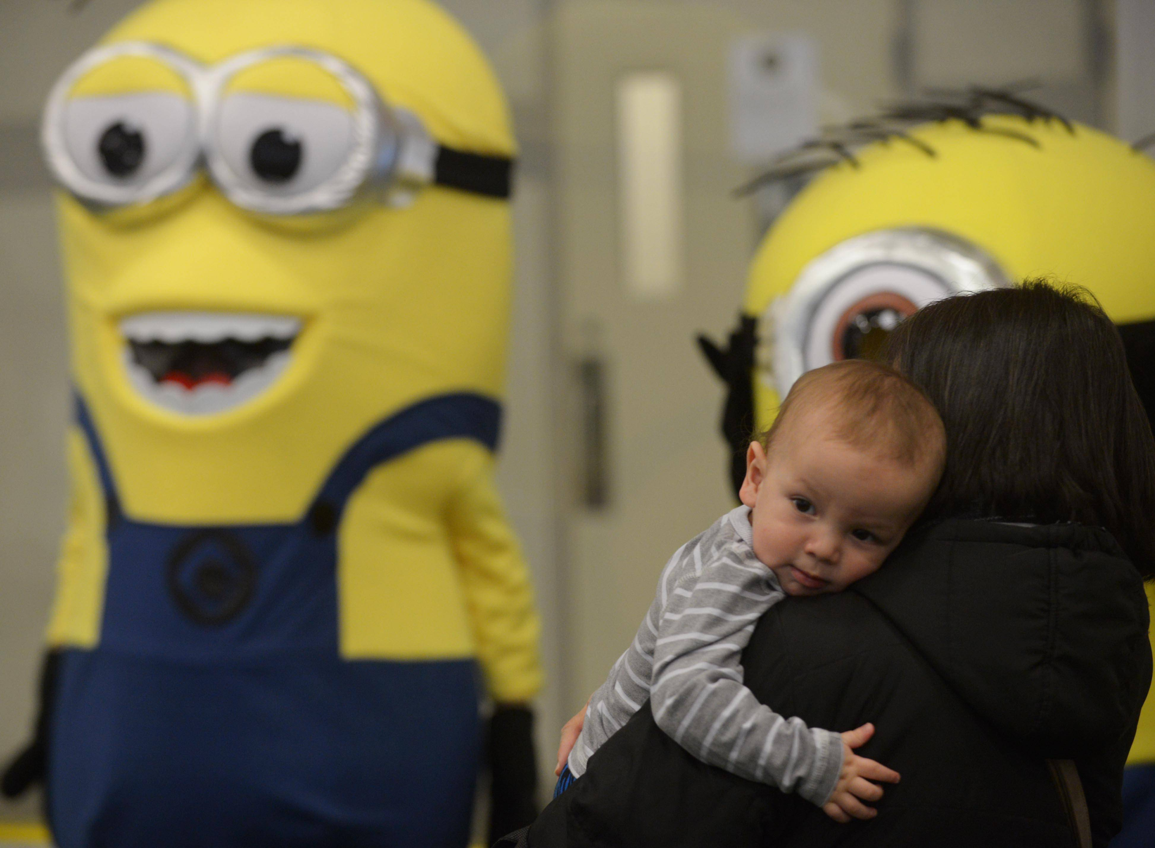 Calvin Luebanos, 1, of Round Lake Beach holds onto his grandma, Amparo Luebanos, as she encourages him to visit with the Minions during the Community Block Party/Expo and Craft Fair at the Round Lake Beach Sports Center Saturday.