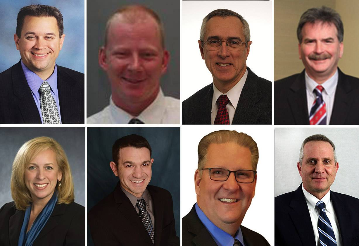 Upper from left, Frank Biga III, Richard Hamen, Mark Hineman and Kevin Lindell and, lower from left, Millie Palmer, Ben Scherr, Lenny Walker and Todd Younger are candidates for District 214 school board in the April 2017 election.
