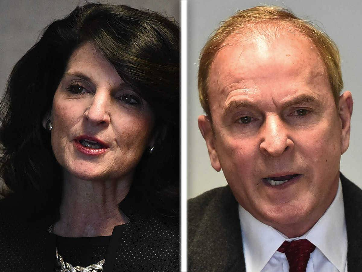 Karen Darch, left, and Mike Kozel, right, are candidates for Barrington village president