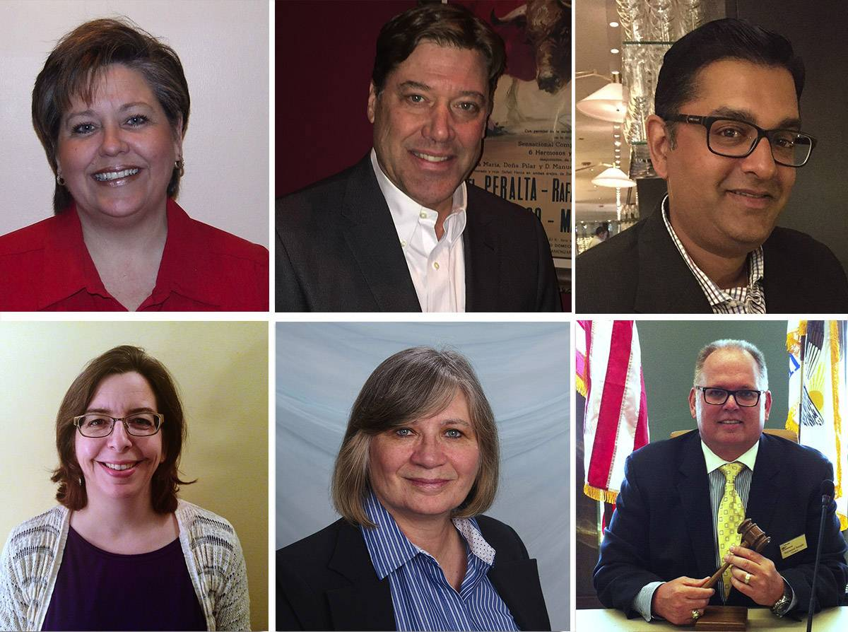 Six people are running for seats on Mundelein's village board. Upper from left: Dawn Abernathy, Scott Black and Karthik Chandramouli. Lower from left: Jeanne Cygnus, Robin Meier and Ray Semple.