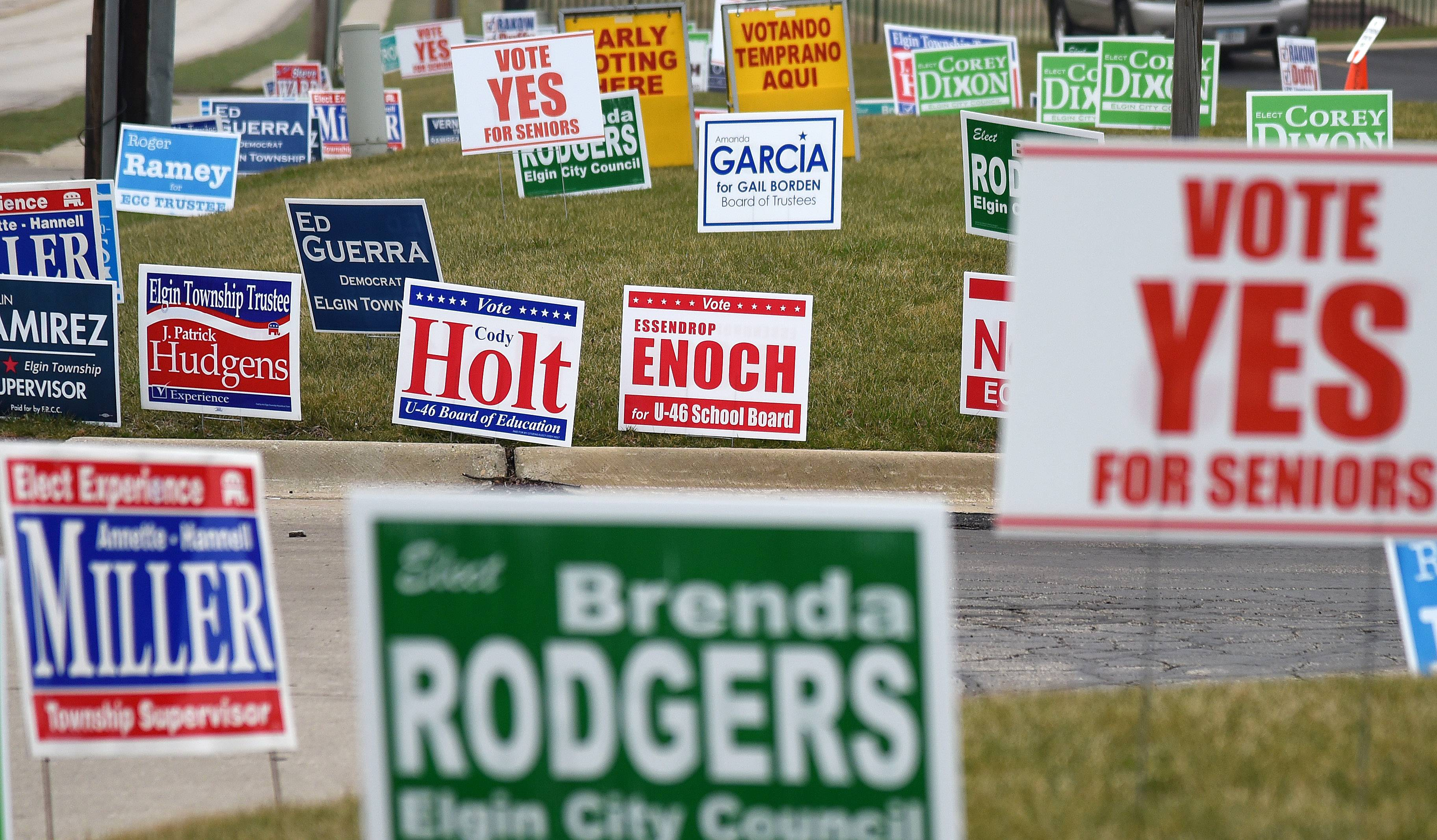 Image result for picture of a bunch of political signs