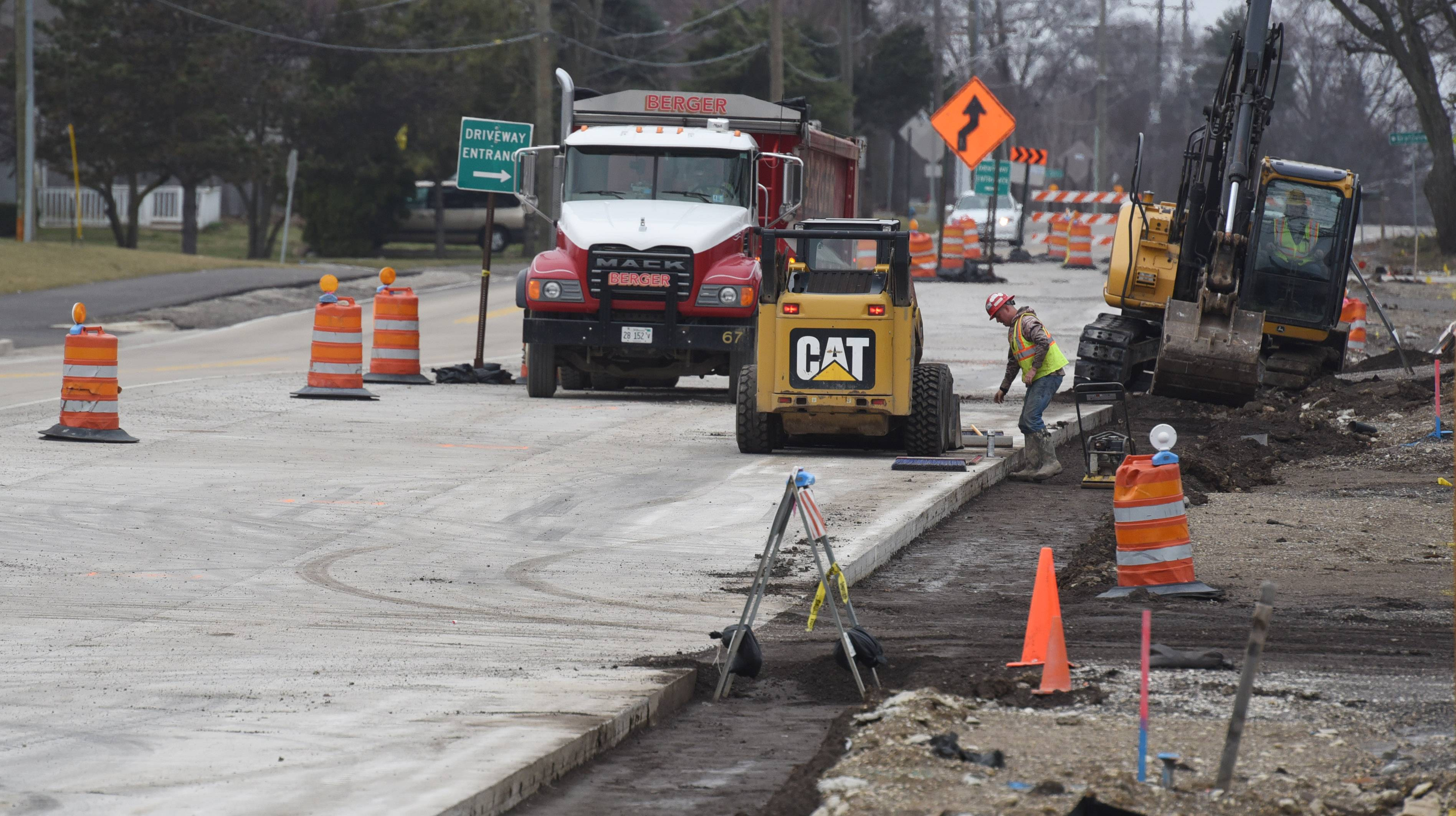 Work continues on the Washington Street widening project Tuesday morning near Hainesville Road. The project is among just a couple of major road initiatives taking place in Lake County this year.