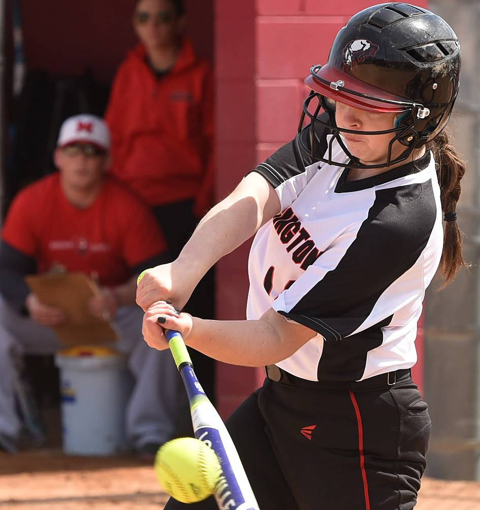 Barrington's Julia Kozar smacks a 2nd inning single to left during their game against Mundelein, at Barrington's Fields of Dreams.