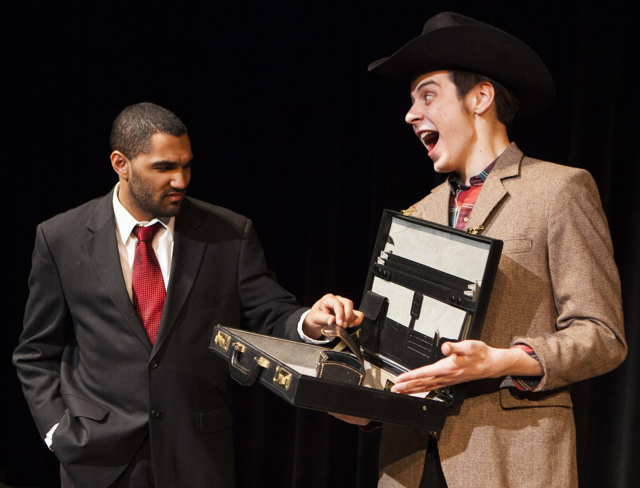 "Robert Williams, left, and Dylan Thomas of College of Lake County theater rehearse a scene from ""The Banderscott,"" one of three one-act plays being presented April 14-15 and 21-23 at CLC."