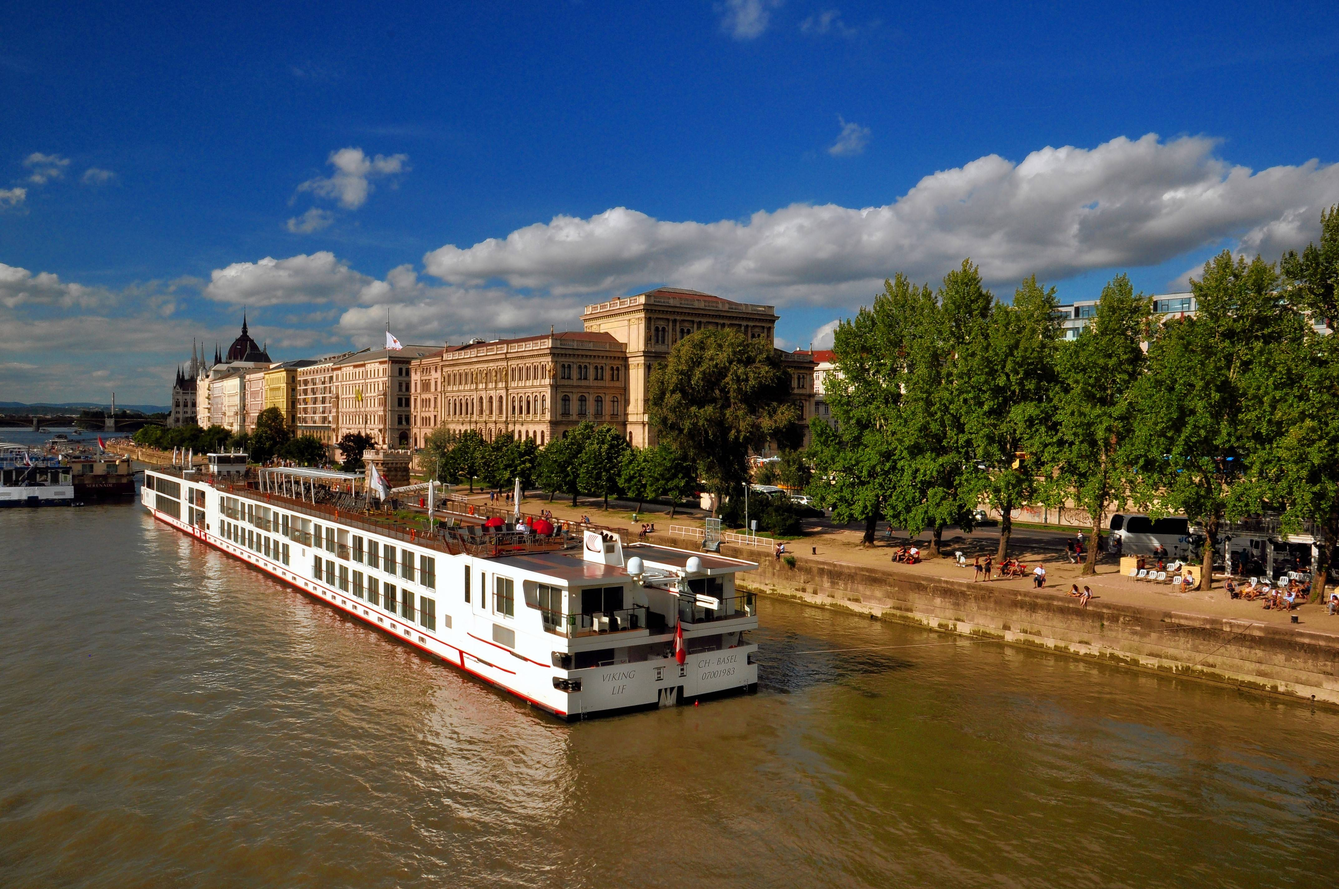 The Lif, one of several longboats operated by Viking River Cruises, docks on the Danube in Budapest.