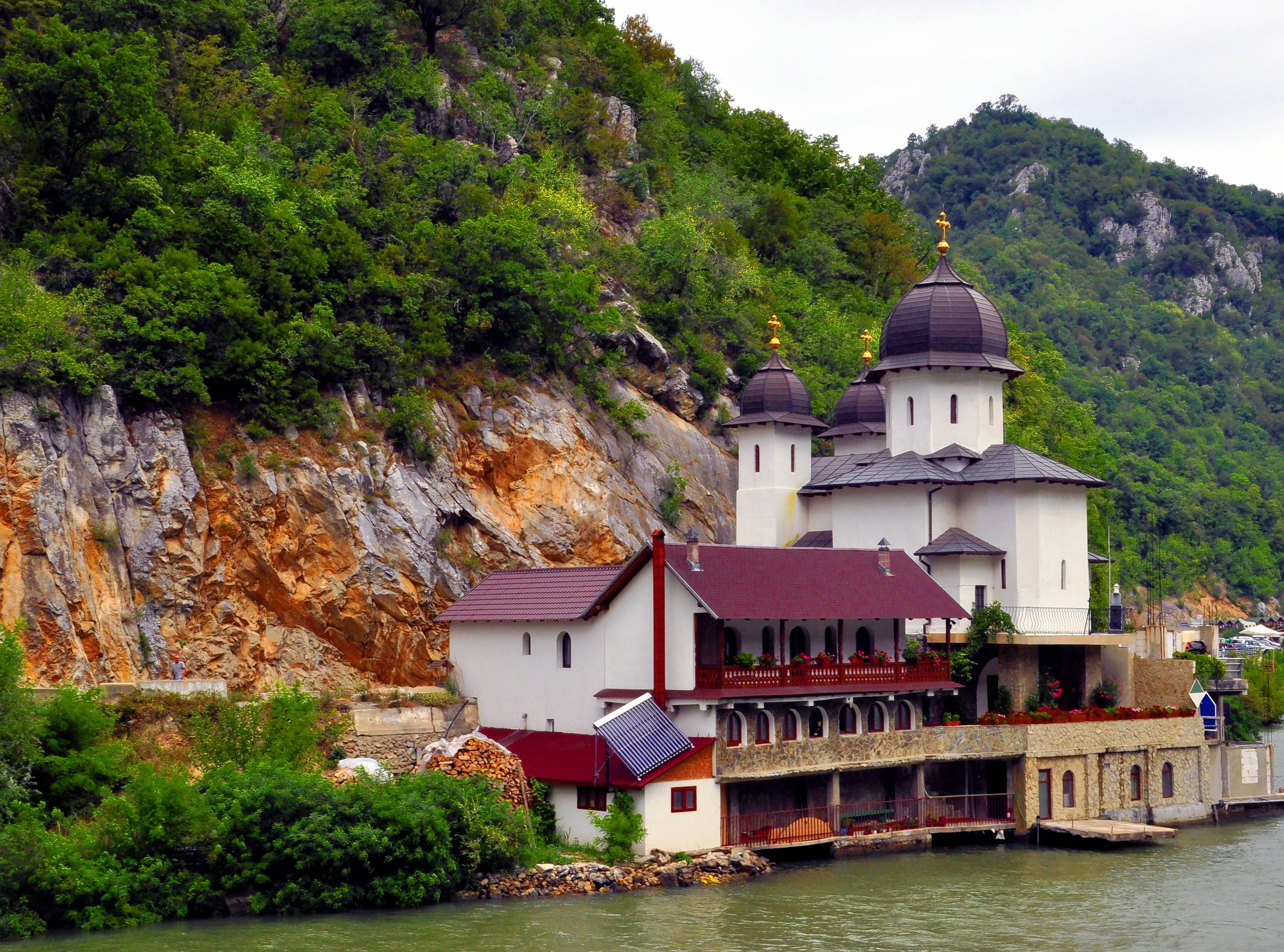 An orthodox convent sits along the Danube on the Romanian side of the Iron Gates gorge.