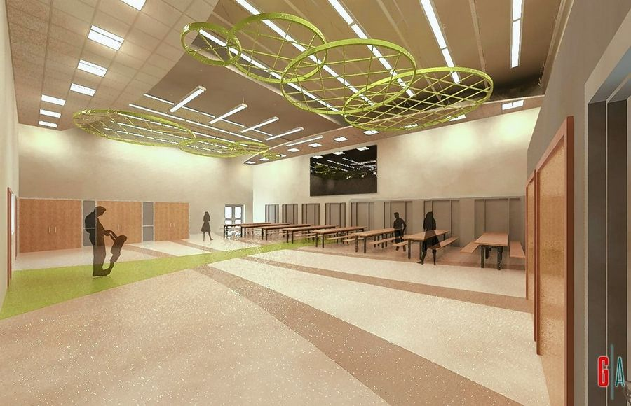 Evergreen Elementary School's gymnasium will be converted into a multipurpose room, shown in this rendering.