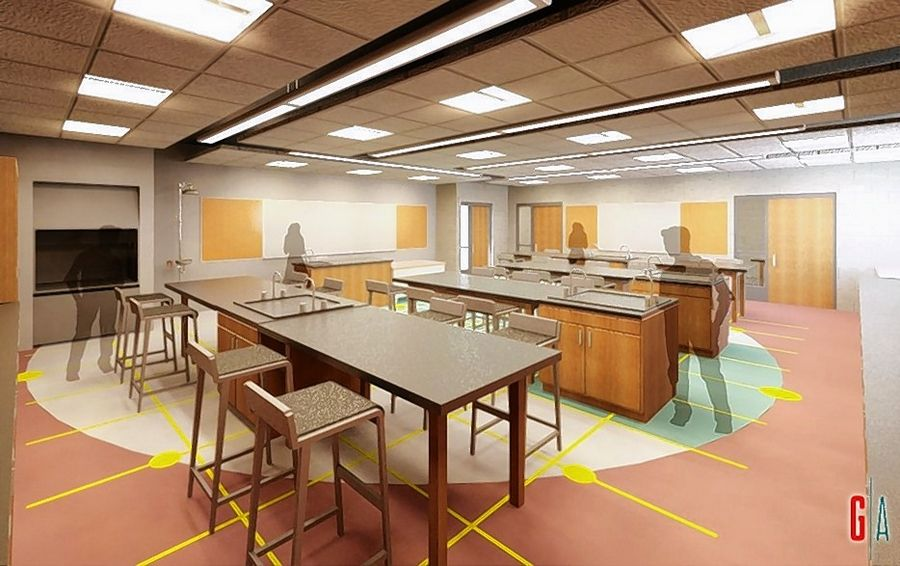 Roughly $951,000 of the tax-backed loans voters approved Tuesday will go toward renovations of Benjamin Middle School's science labs, shown in this rendering. The project would add safety features such as fume hoods and eye-washing stations.