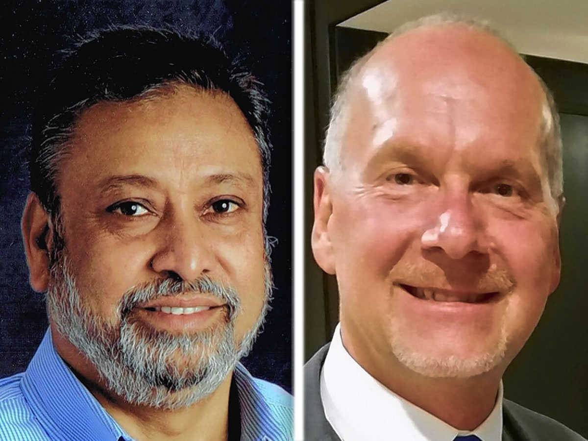 From left, Rezwanul Haque and Lawrence Schmidt are write-in candidates for Streamwood village board.