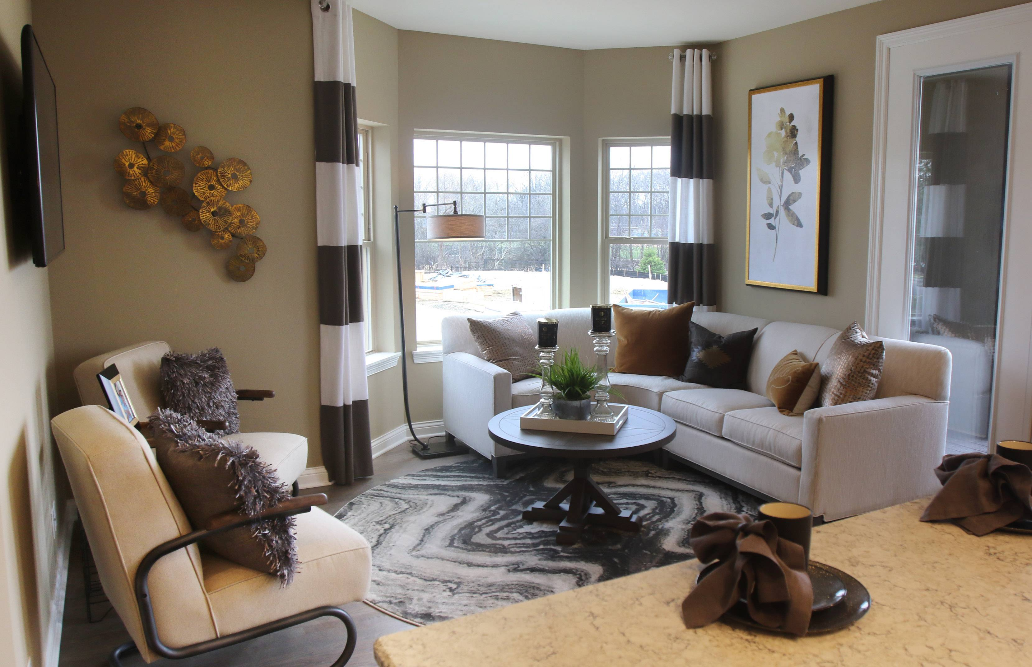 The living room of the Ontario model at Parkside of Libertyville.