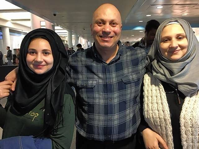 16-year-old Maria Saffaf, left, father Marwan and mother Lama after the Syrian family was reunited after nearly three years apart Thursday at O'Hare International Airport.