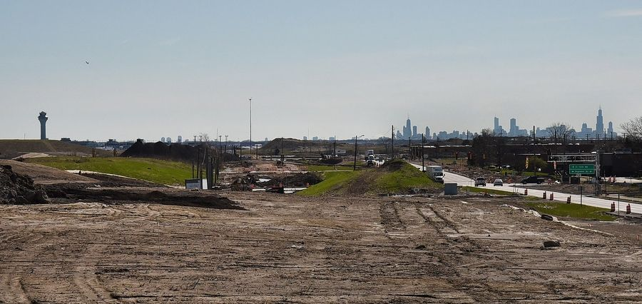 Work continues to extend Route 390 east to O'Hare. Suburban officials anticipate a facility with security, baggage checks and a people mover will eventually be there for passengers who use the new western access entrance.