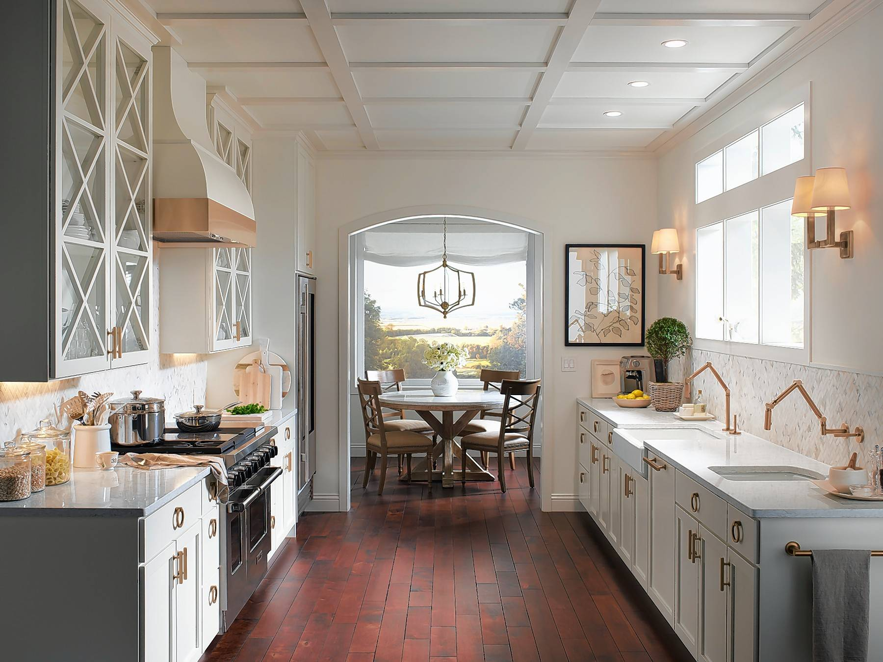 This Charming Example Of A Galley Kitchen Has Features And Walls In Soft  Whites And Is