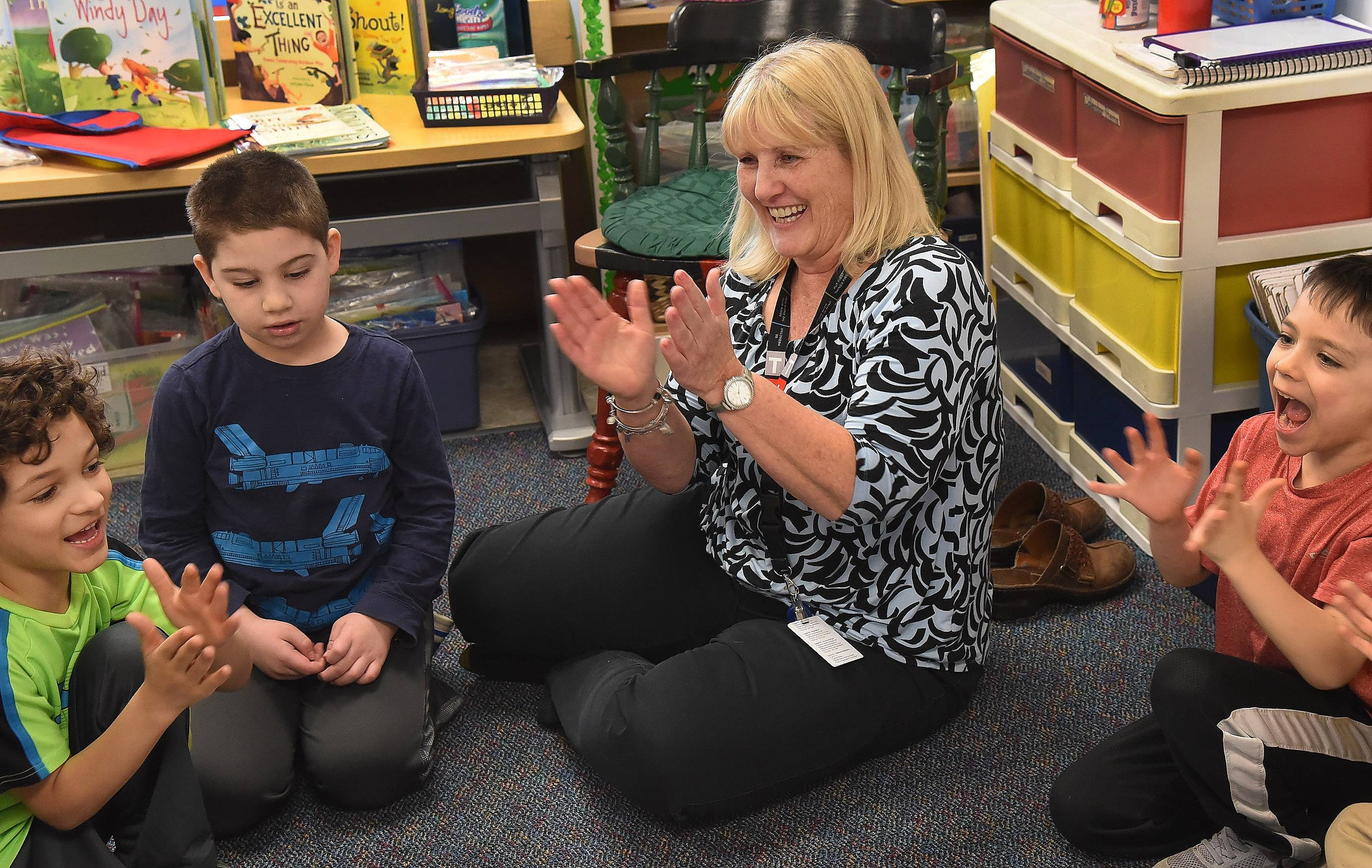 "Nancy Abruscato, a kindergarten teacher at Westgate Elementary School in Arlington Heights, said ""free play"" and hands-on activities are a key part of her students' classroom experience."