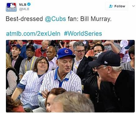 It might look as if Bill Murray is wearing a Cubs jersey, but it's actually just a similar style made by William Murray Golf, the clothing line launched by Murray and his five brothers.