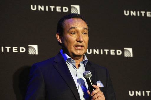 "FILE - In this Thursday, June 2, 2016, file photo, United Airlines CEO Oscar Munoz delivers remarks in New York, during a presentation of the carrier's new Polaris service, a new business class product that will become available on trans-Atlantic flights. Munoz said in a note to employees Tuesday, April 11, 2017, that he continues to be disturbed by the incident Sunday night in Chicago, where a passenger was forcibly removed from a United Express flight. Munoz said he was committed to ""fix what's broken so this never happens again.�"