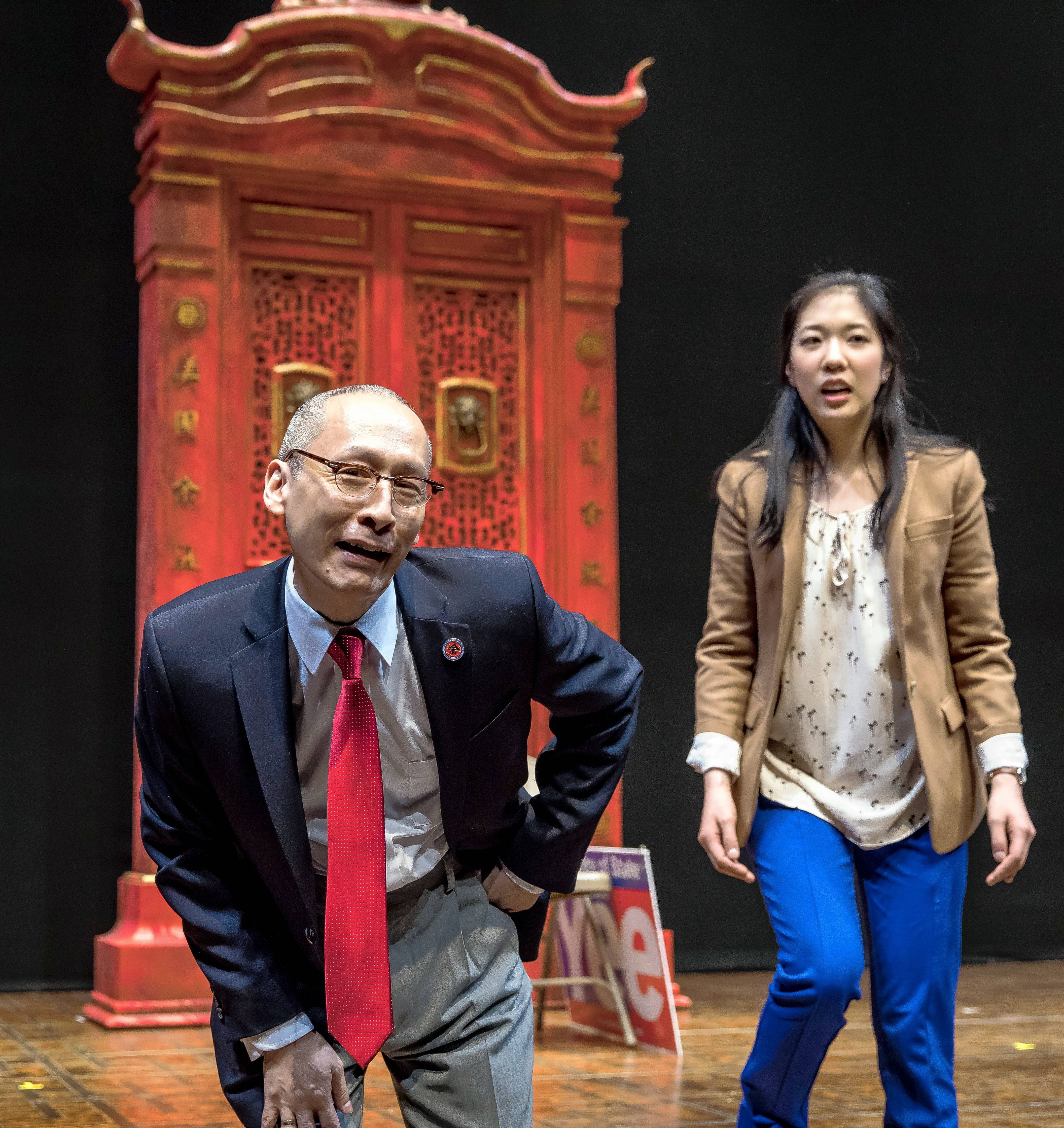 "Larry Yee (Francis Jue) questions his daughter Lauren (Stephenie Soohyun Park) and her attempt to tell a tale of San Francisco's Chinatown in the world premiere of Lauren Yee's ""King of the Yees"" at the Goodman Theatre in Chicago."