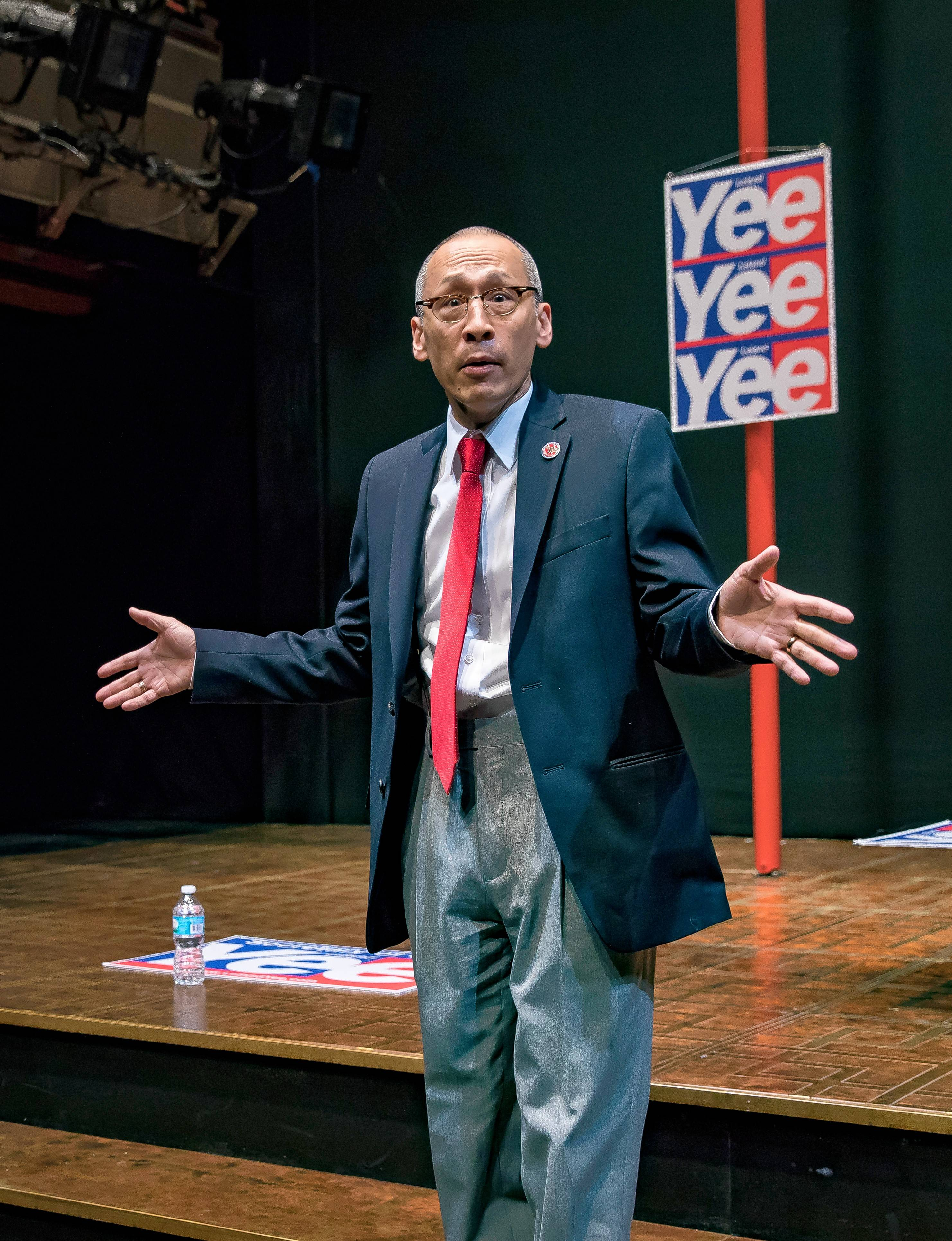 "Larry Yee (Francis Jue) explains why he's backing a Chinese-American political candidate in the world premiere of Lauren Yee's ""King of the Yees"" at the Goodman Theatre in Chicago."