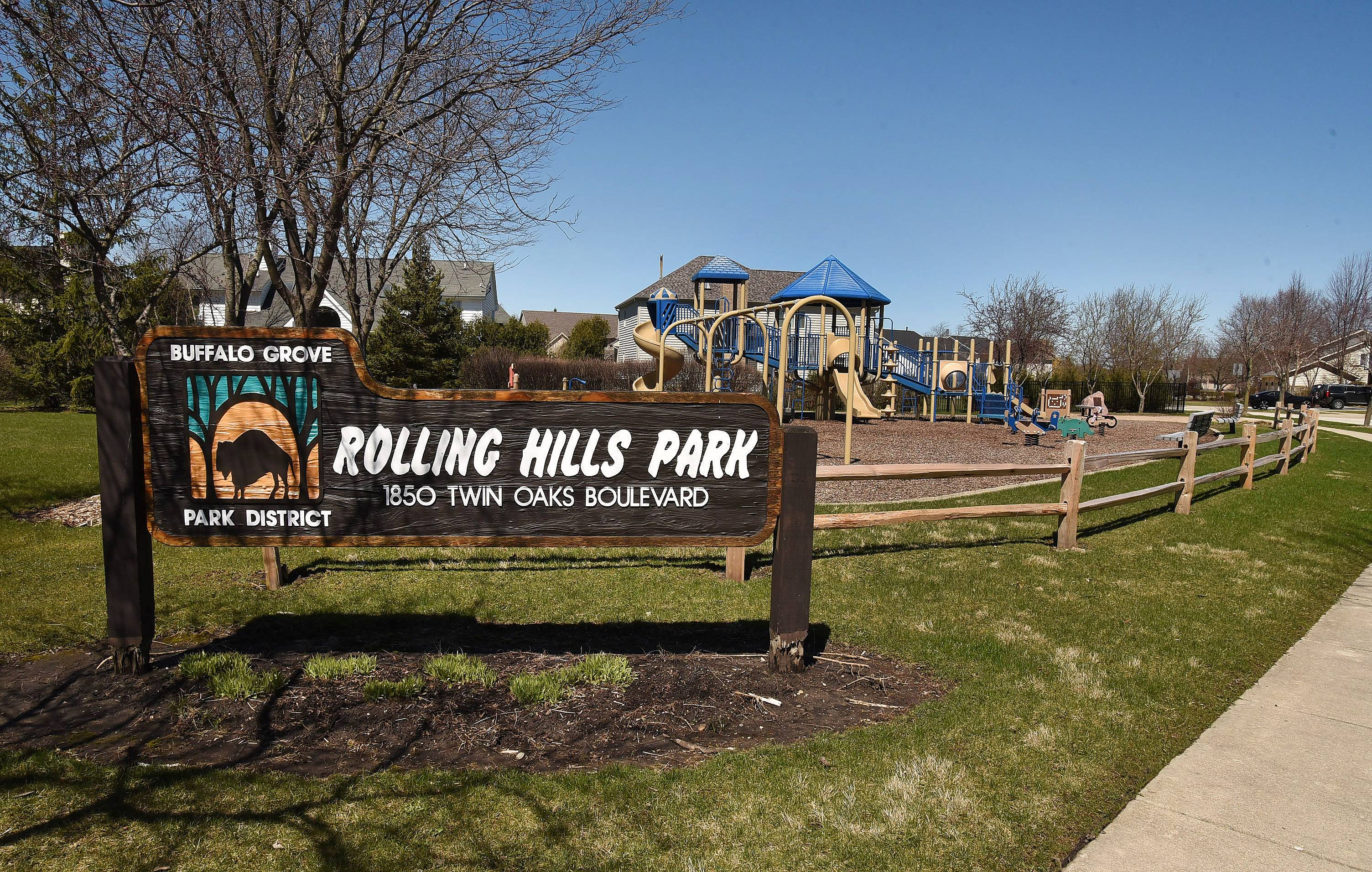 Rolling Hills Park is located along Twin Oaks Boulevard at the entrance to the Rolling Hills subdivision.