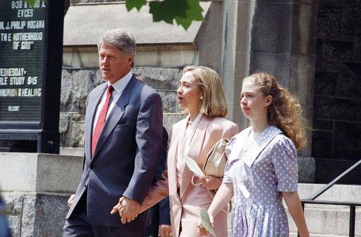 FILE - In this May 9, 1993 file photo, President Bill Clinton, first lady Hillary Rodham Clinton and daughter Chelsea leave the Foundry United Methodist Church in Washington. At Washington churches, presidents have long been seated in the pews. Bill and Hillary Clinton favored a Methodist church. Jimmy Carter taught Baptist Sunday School. And Barack Obama dropped in at an Episcopal church next to the White House. But as Easter Sunday approaches, President Donald Trump has not attended a church service in the Capitol since the worship events during his inauguration weekend.