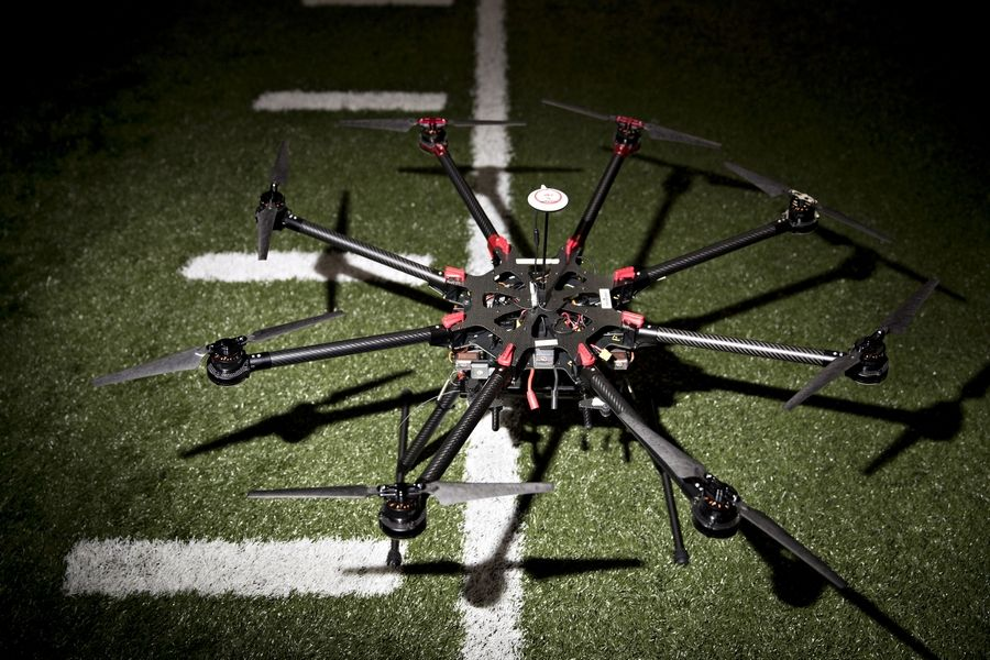A SZ DJI Technology Co. S1000 drone sits on the field before test experiments are performed with unmanned aerial systems (UAS) on the campus of Virginia Tech in Blacksburg, Virginia, U.S., on Feb. 14, 2017.