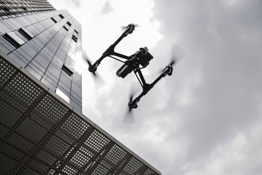 A DJI Inspire 1 Pro drone is flown during a demonstration at the SZ DJI Technology Co. headquarters in Shenzhen, China, on April 20, 2016.
