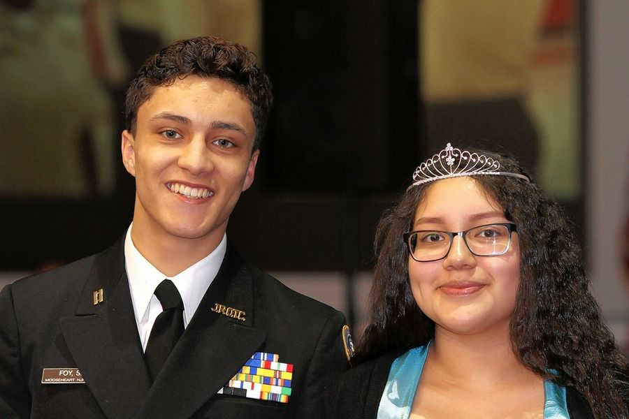 Mooseheart seniors Steven Foy, left, and Brigite Enriquez were named the king and queen of this year's Military Ball.