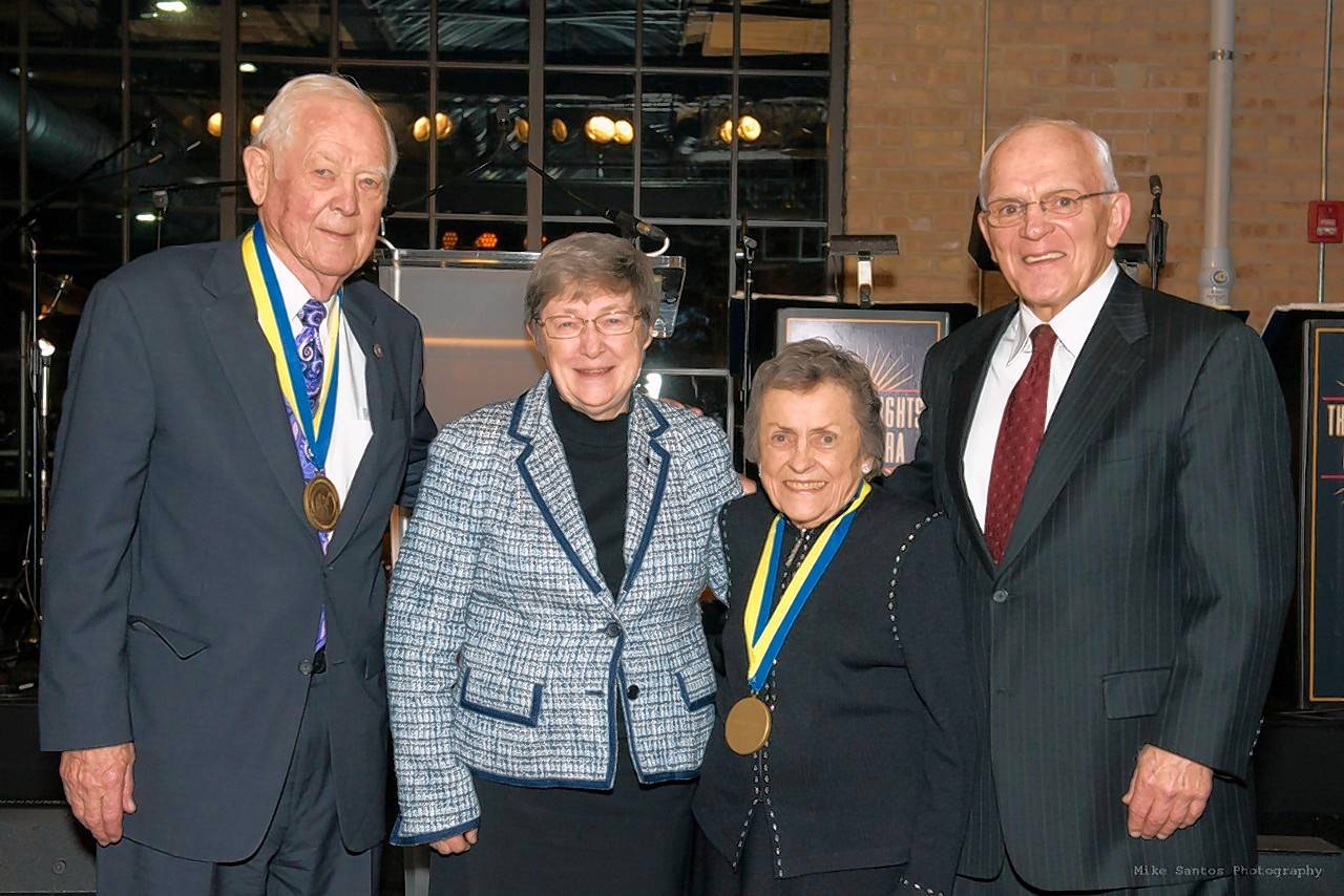 Richard Pepper, left, Sister Catherine M. Ryan, Roxelyn Pepper and Richard Devine pose after the Peppers were honored by Maryville on April 7 for their commitment to the protection and development of children. The couple received Maryville's Guardian Medallion Award by Sister Catherine M. Ryan, Maryville's executive director.