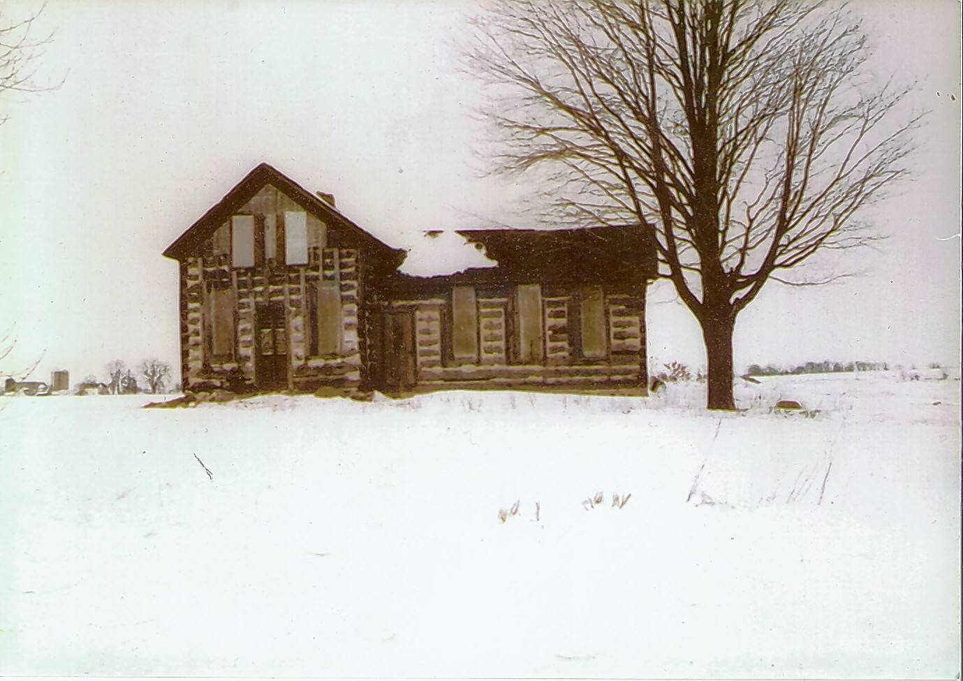 The earliest known photo of the log cabin in Appleton, Wisconsin, before it was moved to Barrington Hills.