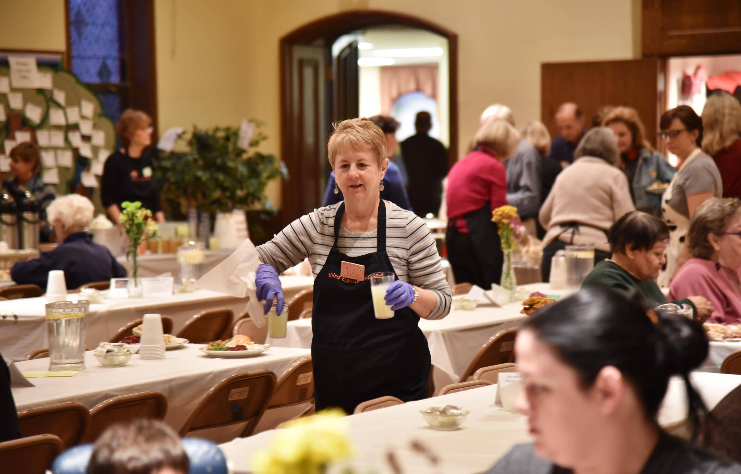 Judy Burgess volunteers at the Third Tuesday Suppers at United Methodist Church of Geneva.