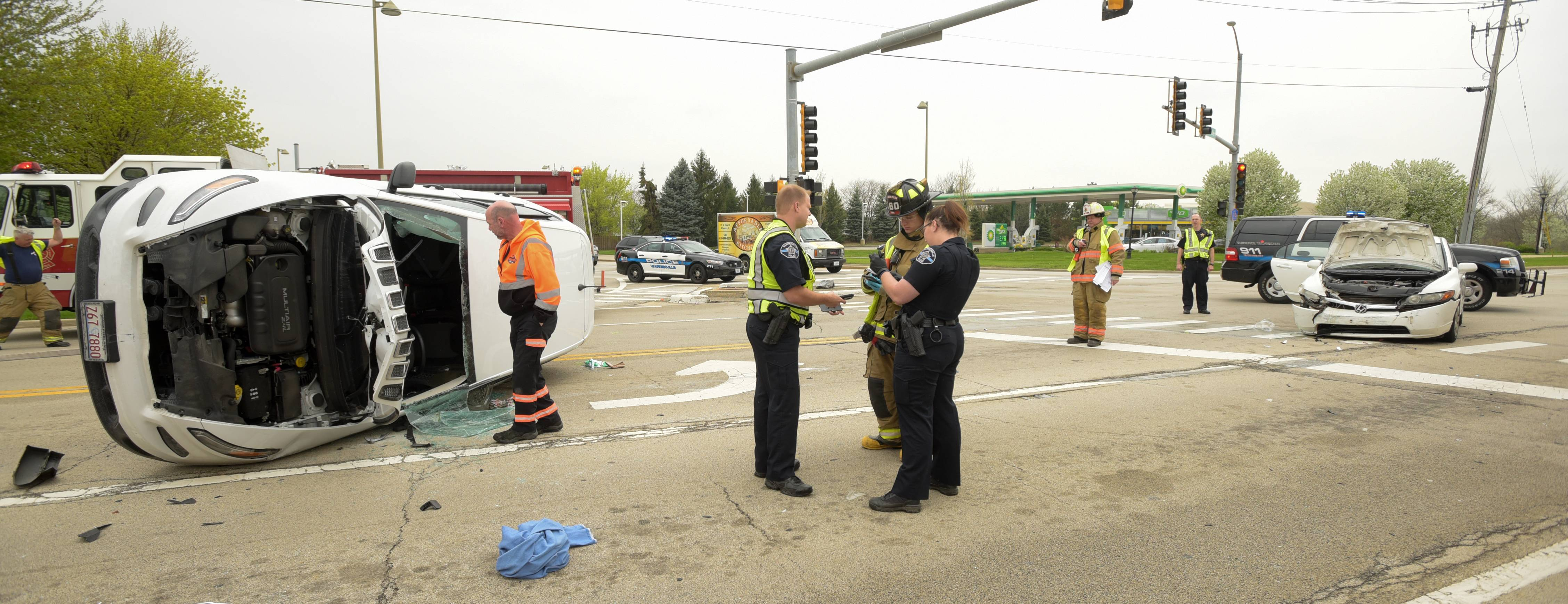 Seven people were injured in the crash Wednesday at Winfield and Warrenville roads in Warrenville.