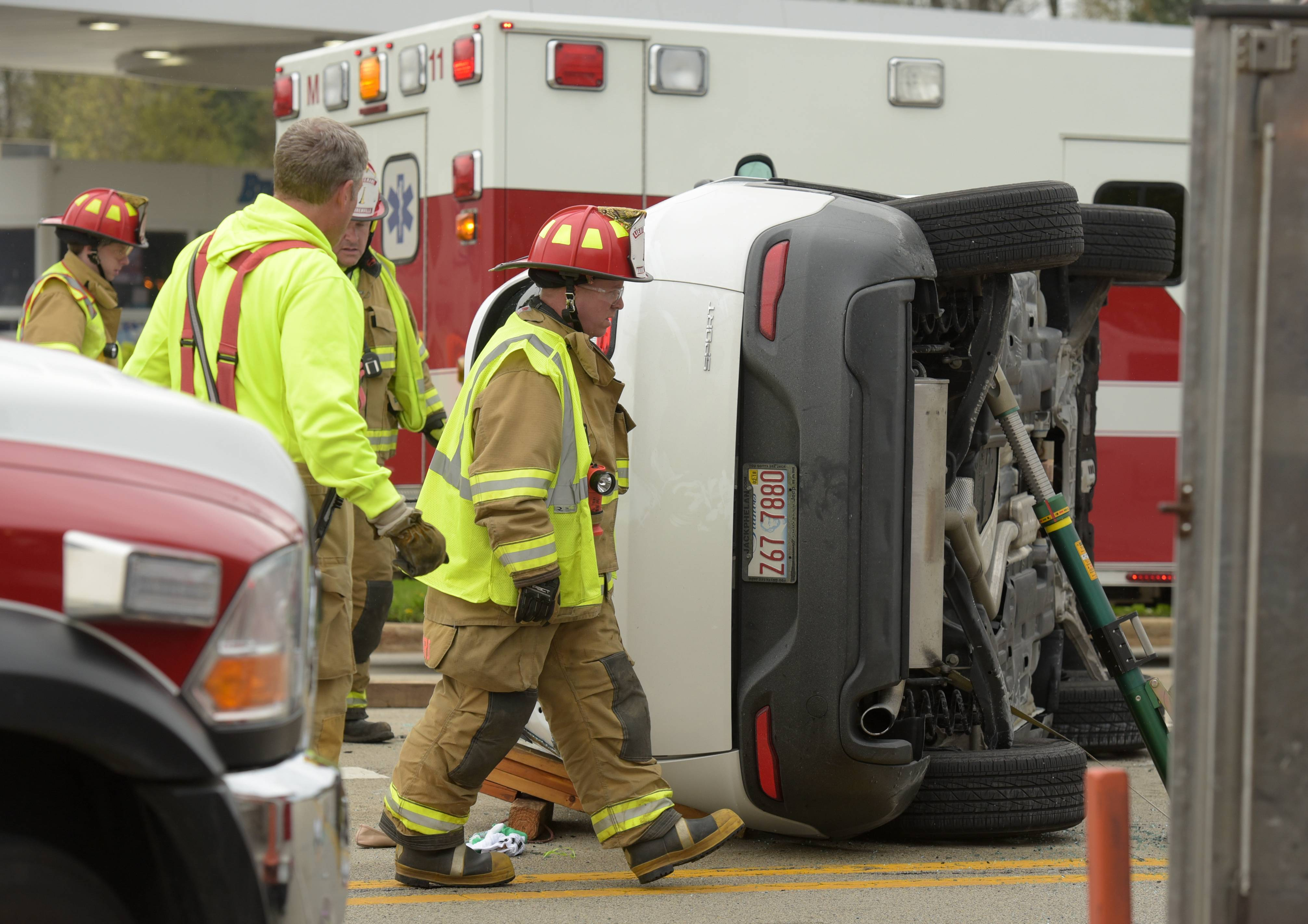 A crash Wednesday afternoon at Winfield and Warrenville roads in Warrenville left one vehicle on its side.