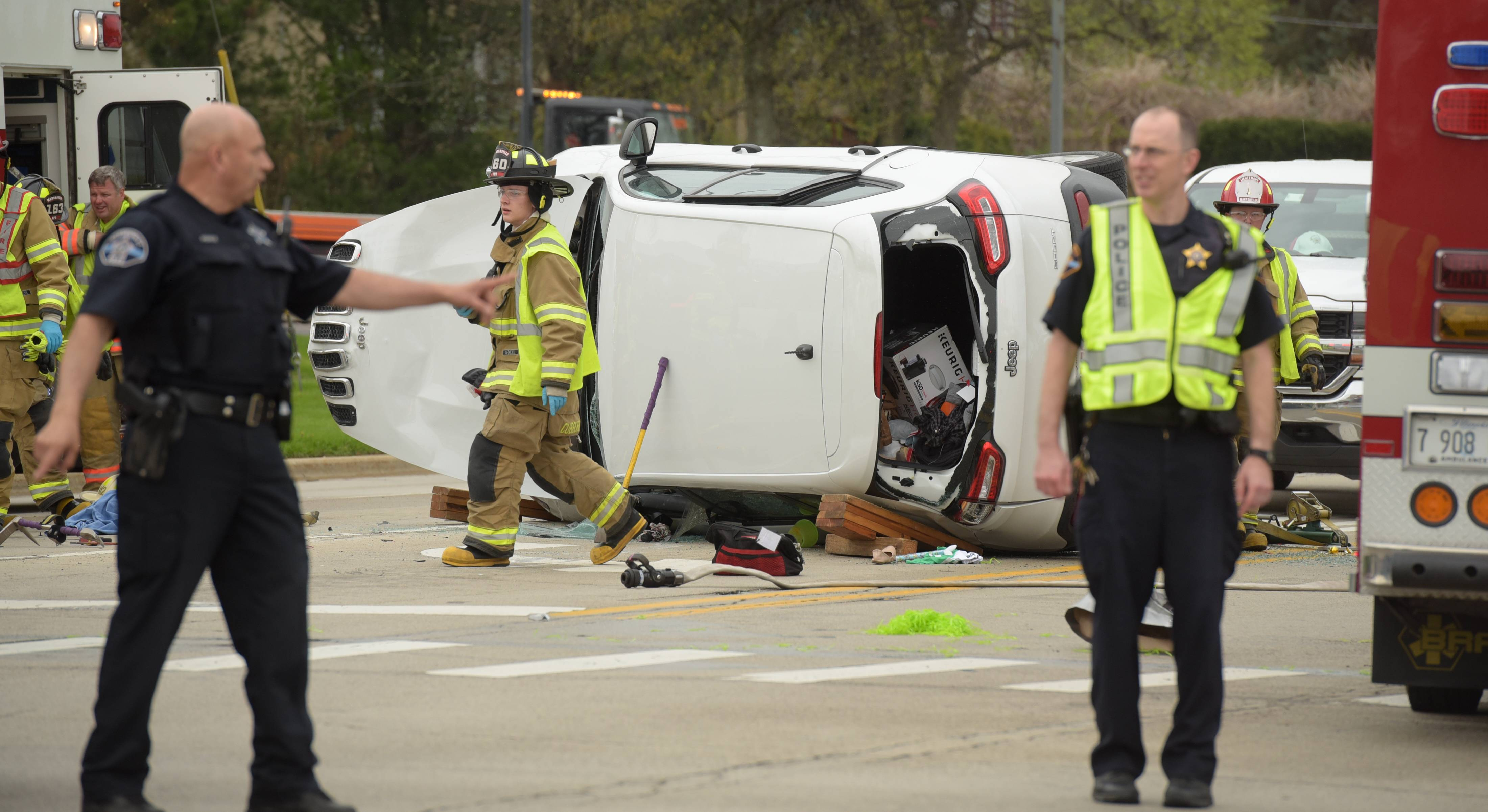The crash at Winfield and Warrenville roads in Warrenville sent four people to Edward Hospital on Wednesday.