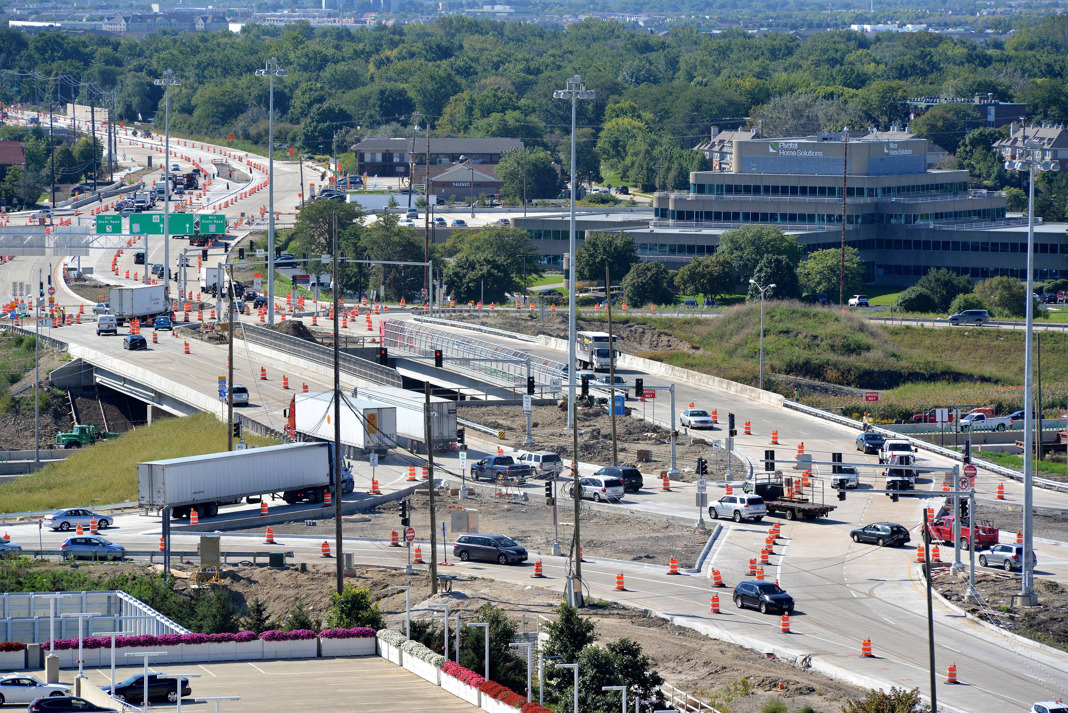 A diverging diamond interchange opened in 2015 at Route 59 and I-88 in Naperville.