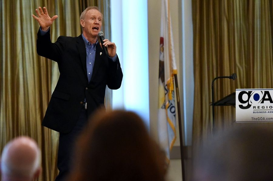 Gov. Bruce Rauner addresses the GOA Regional Business Association at a lunch Wednesday at Belvedere Banquets in Elk Grove Village.
