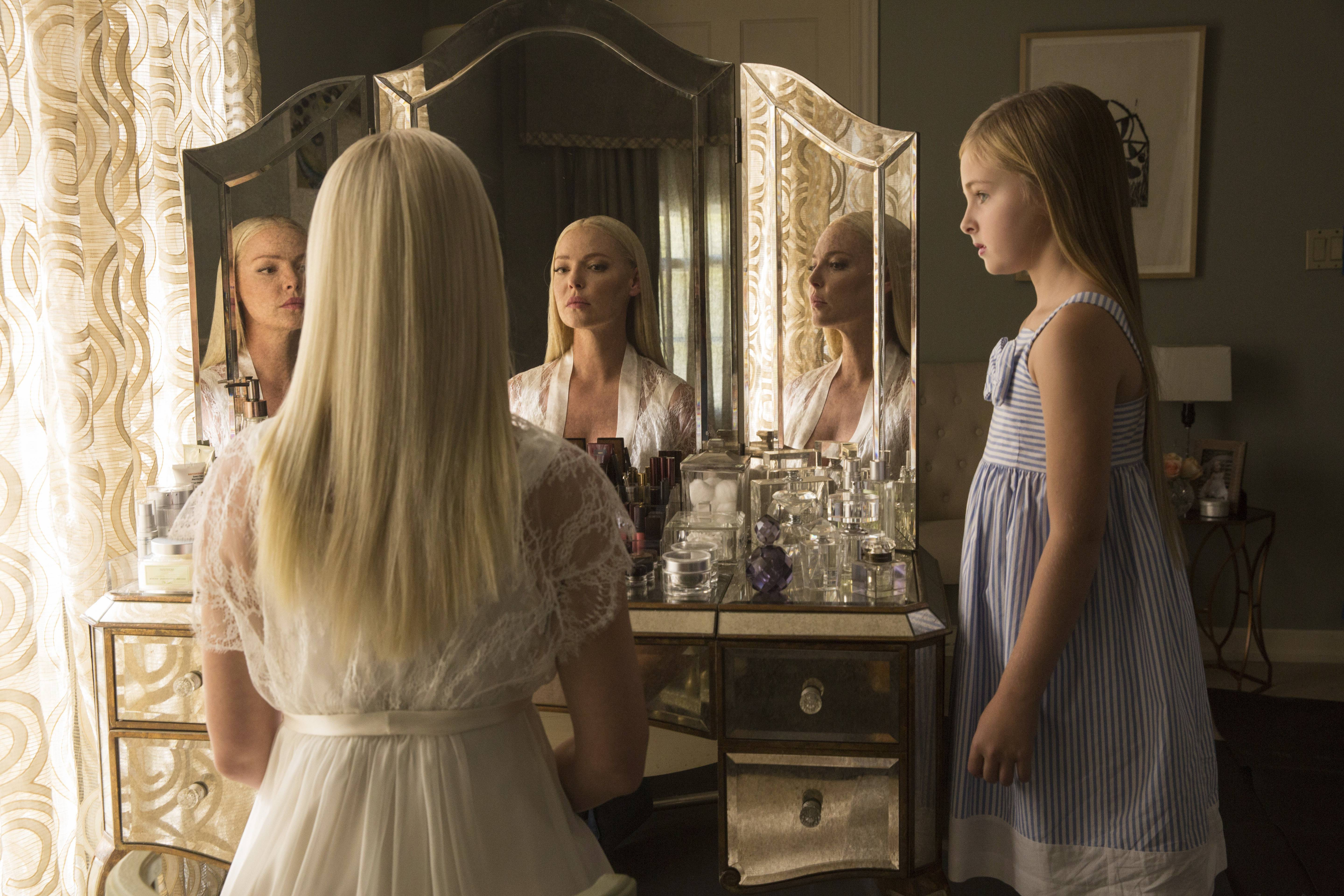 "Tessa (Katherine Heigl), left, becomes increasingly unhinged as she has to share her daughter (Isabella Rice) and ex-husband with the new woman in his life in ""Unforgettable."""