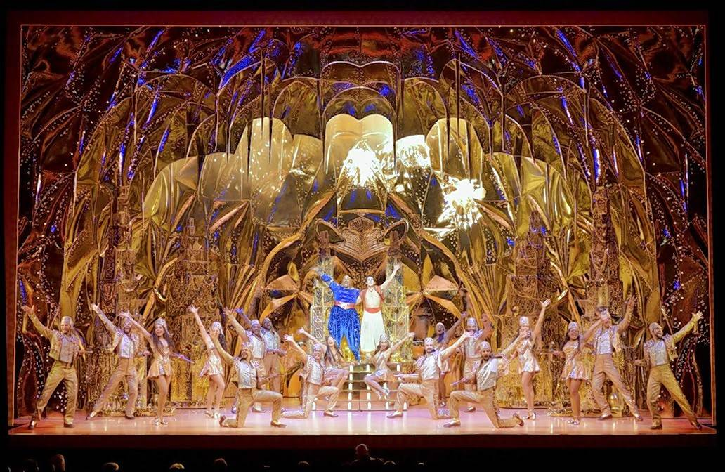"The national tour of the glitzy, exuberant ""Aladdin"" opened Wednesday at Chicago's Cadillac Palace Theatre."