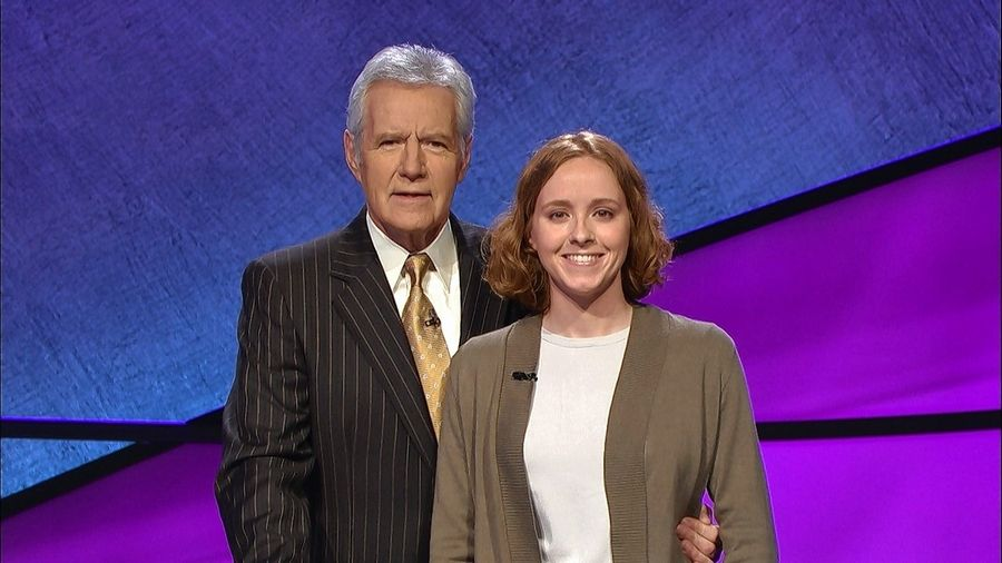 "Emma Florio of Hoffman Estates with ""Jeopardy!"" host Alex Trebek."