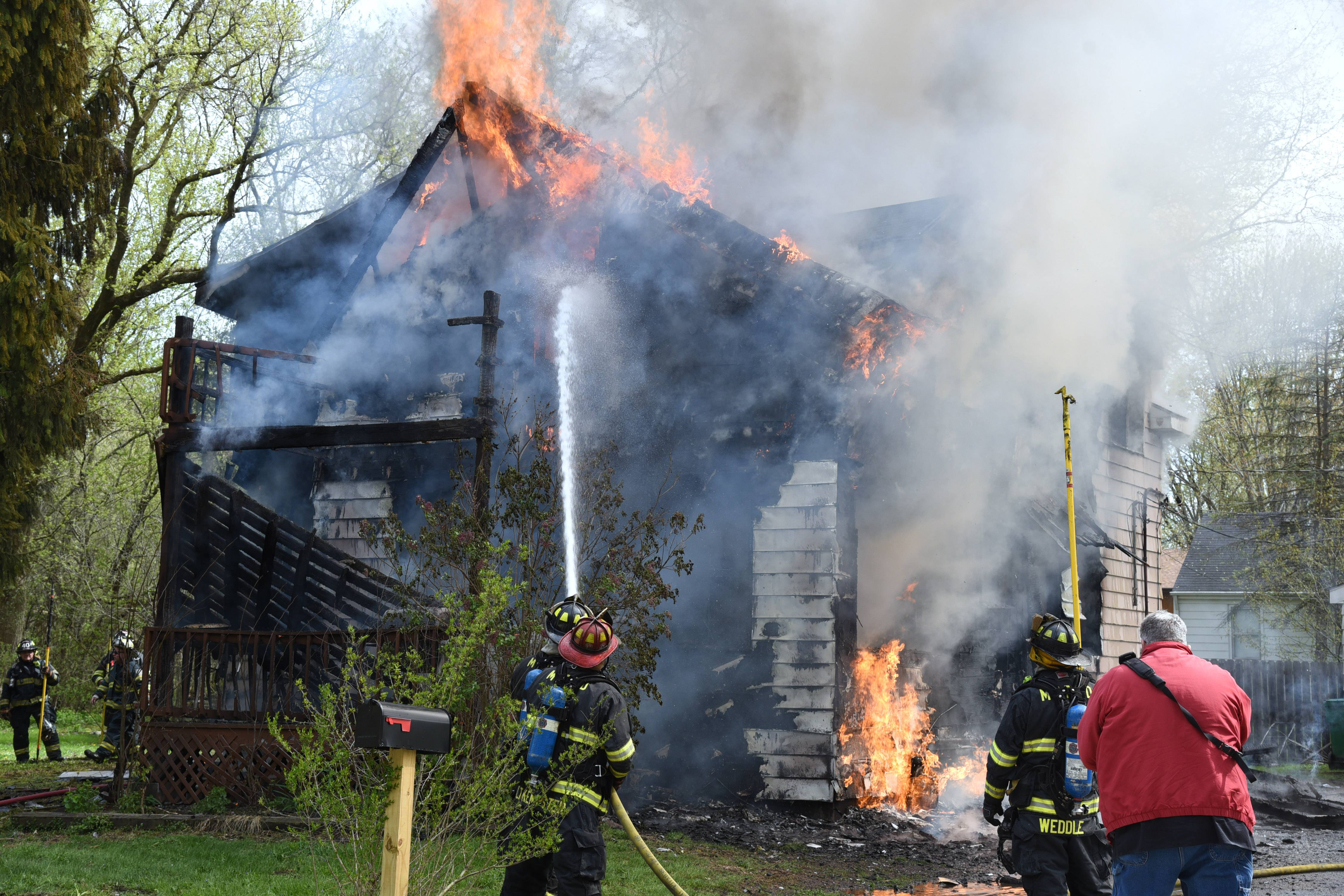 Fire engulfs a Lakemoor home on the 300 block of N. Rosedale Drive Friday morning in Lakemoor. Crews from eight fire departments responded to the blaze.