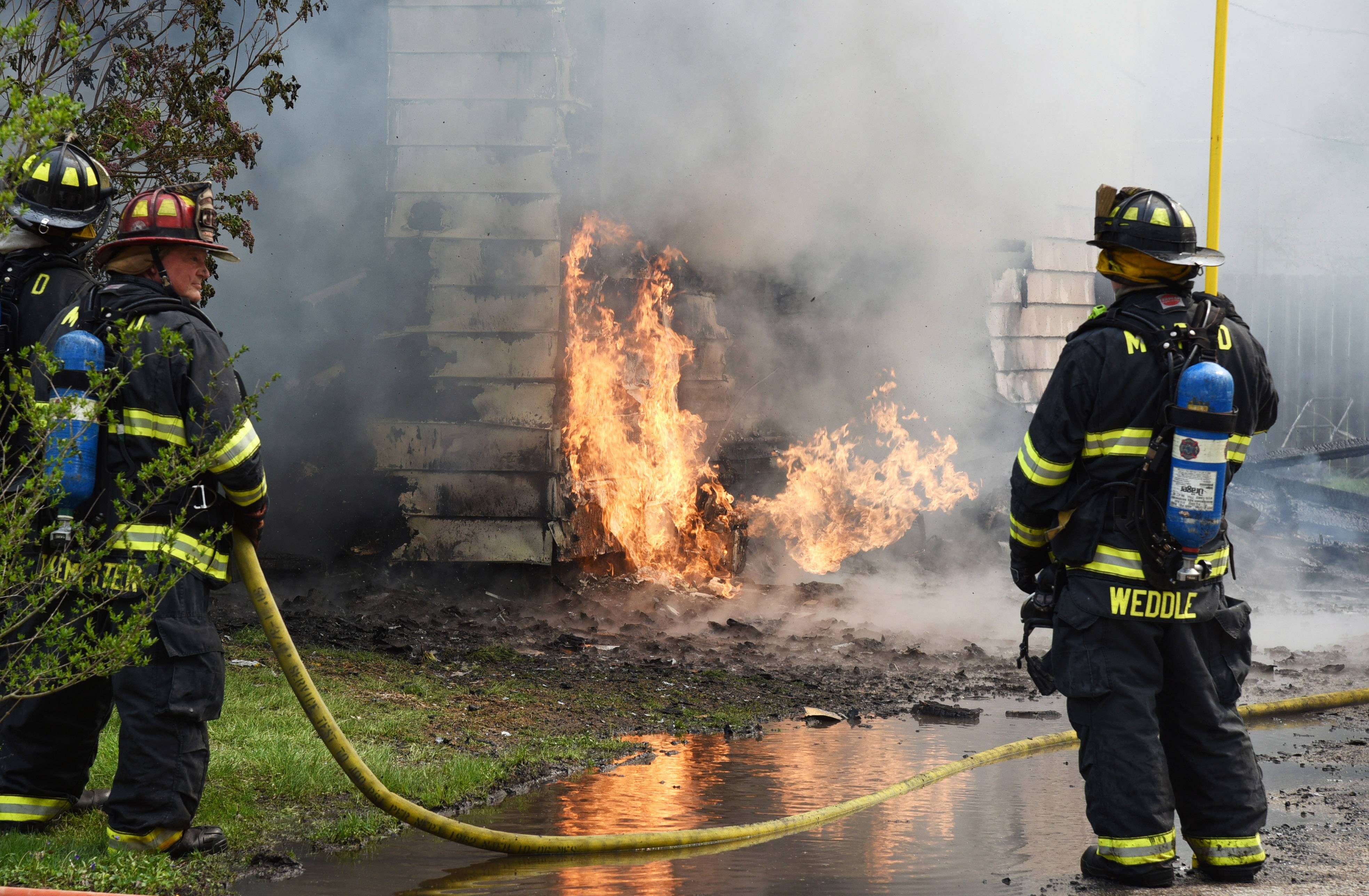 A natural gas line ruptured and burns at a house fire on the 300 block of N. Rosedale Drive Friday morning in Lakemoor.
