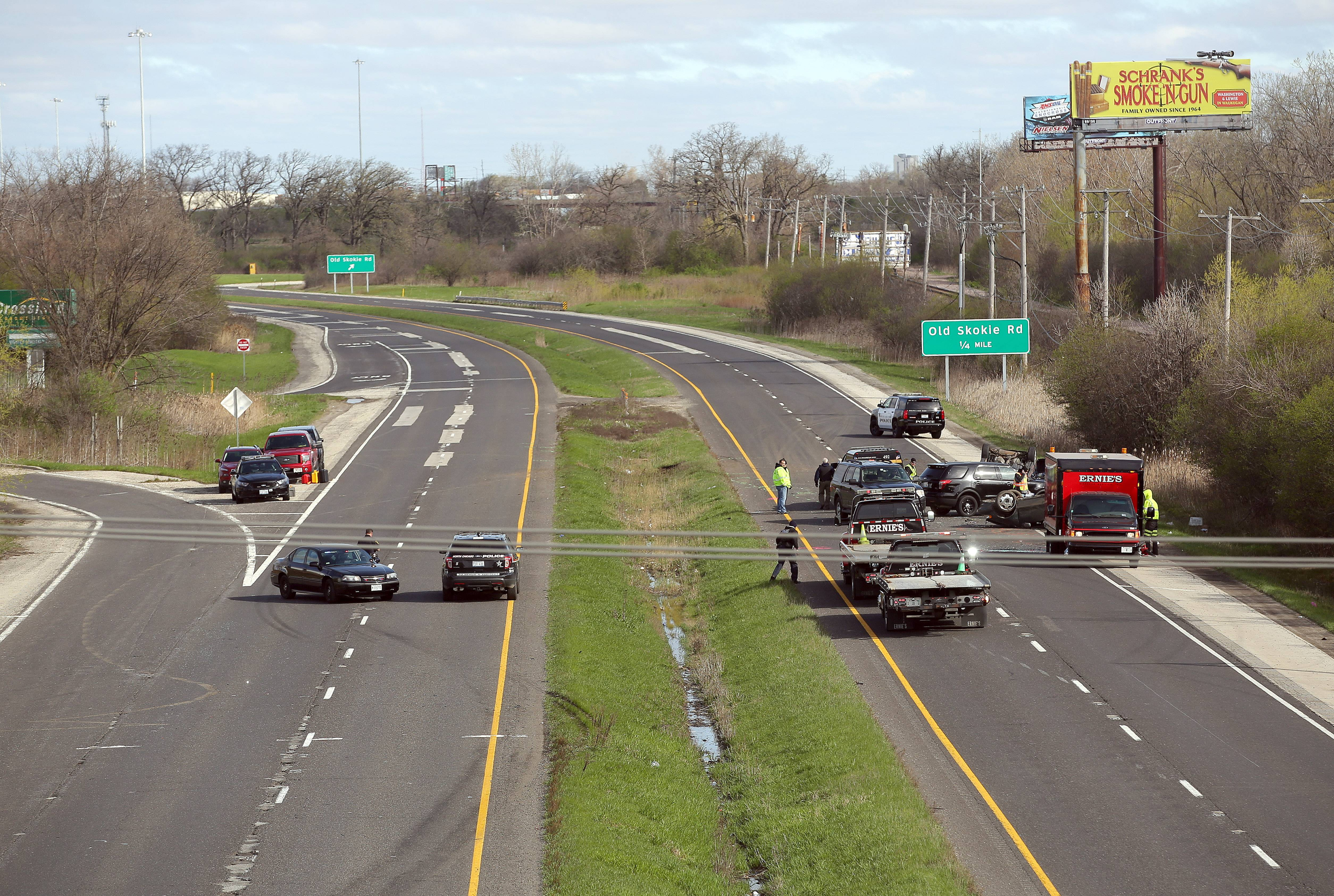 Both sides of Route 41 were closed between Route 120 and Martin Luther King Drive in North Chicago Friday after a fatal accident.