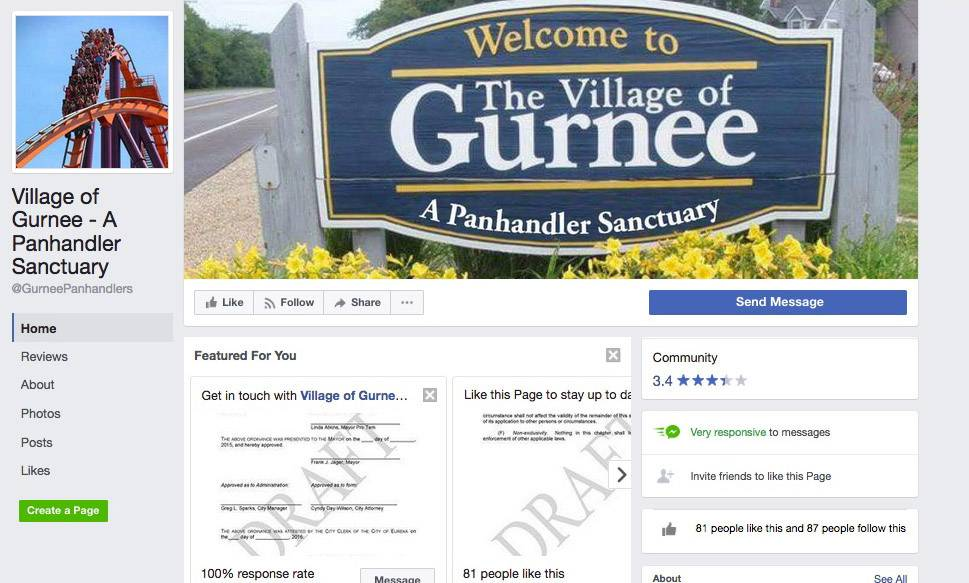 This is a recently launched Facebook page called Village of Gurnee -- A Panhandler Sanctuary. Gurnee Police Chief Kevin Woodside discussed the issue of panhandling at a neighborhood watch meeting Thursday night.